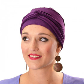 Plum jersey Madrid turban - Miroir