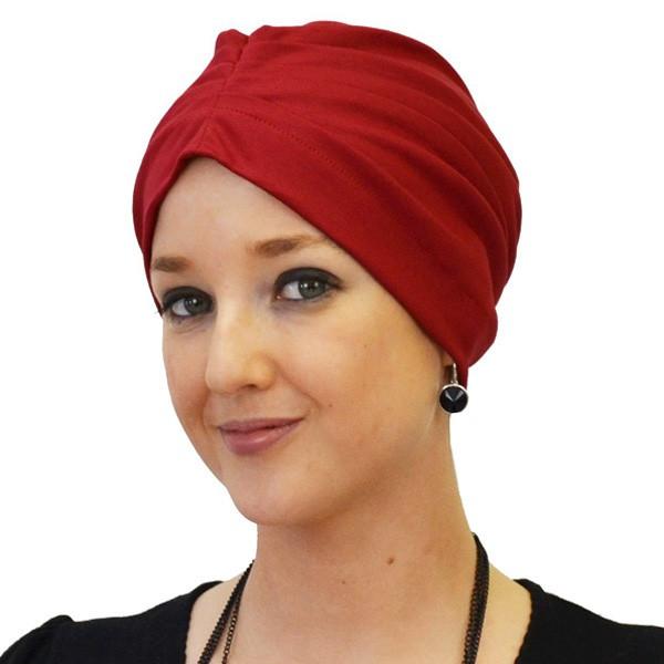 Red cotton drape night cap
