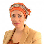 Turban polaire Mélanie - Orange / Beige